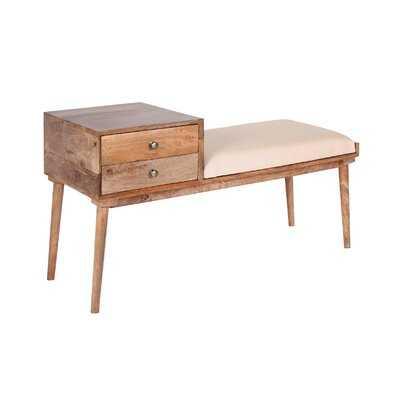 Gouveia Micentury Modern Cushioned Two Drawer Storage Bench - Wayfair