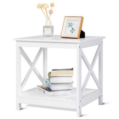 Costway White Nightstand 18 in. x 19 in. x 19 in. End Table x-Design Display Shelves Accent Sofa Side Table - Home Depot