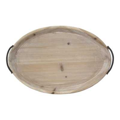 Stratton Home Decor Natural Wood Oval Tray - Home Depot