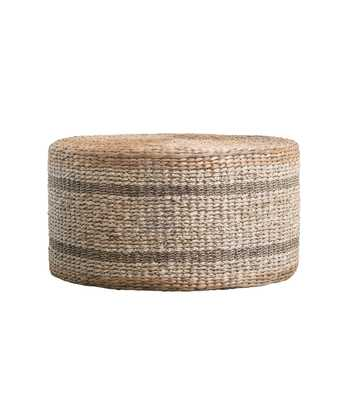 Brown Striped Round Water Hyacinth & Seagrass Ottoman/Table - Nomad Home