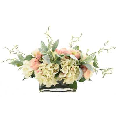 Rose and Hydrangea Floral Arrangement in Vase - Perigold