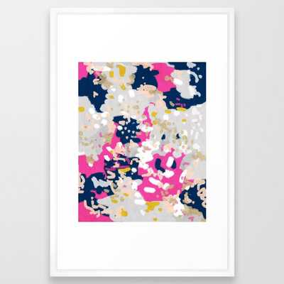 Michel - Abstract, Girly, Trendy Art With Pink, Navy, Blush, Mustard For Cell Phones, Dorm Decor Etc Framed Art Print by Charlottewinter - Vector White - LARGE (Gallery)-26x38 - Society6