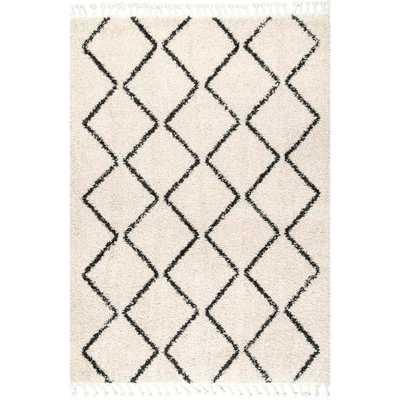 nuLOOM Michelle Diamond Trellis Tassel Off-White 10 ft. x 14 ft. Area Rug, Beige - Home Depot