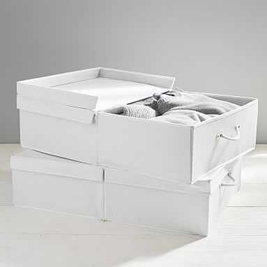 Denim Storage Bins, White Denim, Medium - Pottery Barn Teen