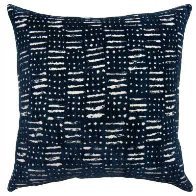 """Square Feathers Seal Navy Tribal 20X20 Pillow Size: 22"""" H x 22"""" W, Color: Navy - Perigold"""