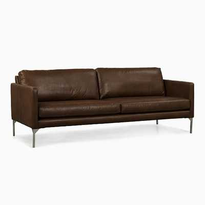"""Banks 84"""" Sofa,Tan,Oxford Leather,Brushed Silver - West Elm"""