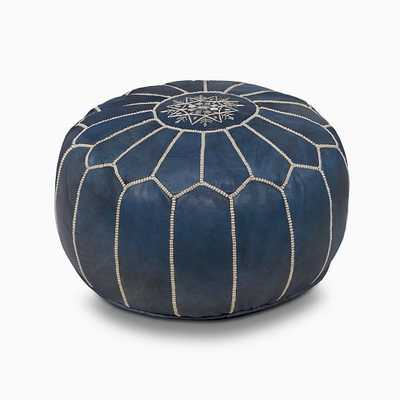 "Leather Moroccan Pouf, 20""x14"", Indigo - West Elm"