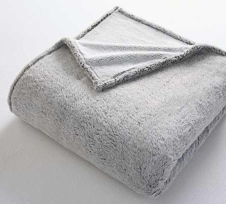 Light Gray Faux Fur Cozy Blanket, King/Cali - Pottery Barn