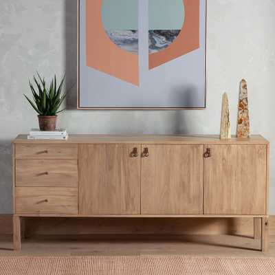 """Isador 74"""" Wide Rustic Poplar 3-Drawer Sideboard - Style # 97T42 - Lamps Plus"""