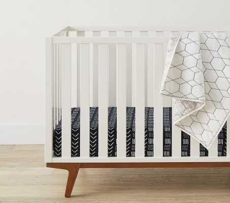 Organic Muslin Modcloth Fitted Crib Sheet, Black - Pottery Barn Kids