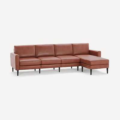 Nomad Block Leather King Sofa with Chaise, Leather, Chestnut, Ebony Wood - West Elm