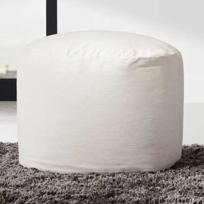 Anywhere Ivory Pouf - CB2