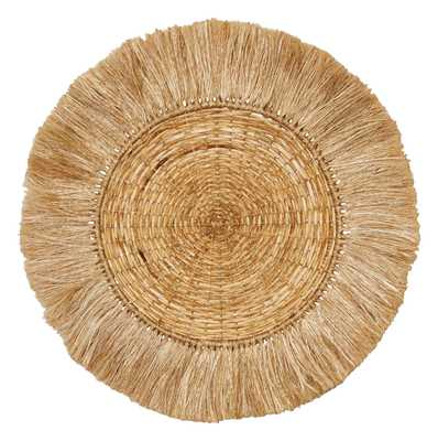"Handwoven 28"" Round Rattan & Abaca Wall Décor with Fringe - Moss & Wilder"