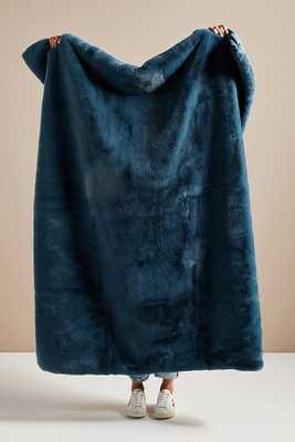 Hibernal Faux Fur Throw Blanket By Anthropologie in Blue - Anthropologie