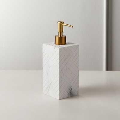 Santi White Marbleized Soap Pump - CB2