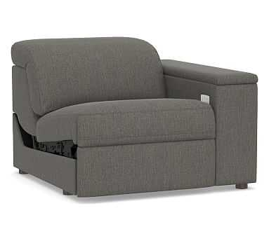 PB Ultra Lounge Square Arm Upholstered Right-arm Recliner, Polyester Wrapped Cushions, Chenille Basketweave Charcoal - Pottery Barn