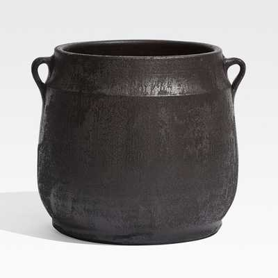 Hyrax Black Textured Planter - Crate and Barrel