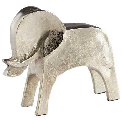"Tusk Elephant Sculpture Size: 5.25"" H x 6.5"" W x 2"" D, Finish: Raw Nickel - Perigold"