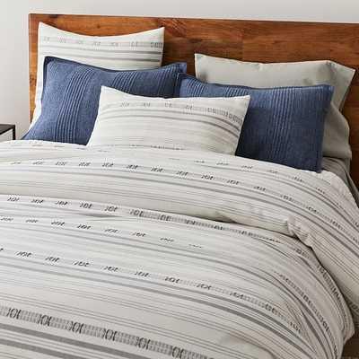 Jacquared Stripe Duvet, Full/Queen Duvet & Standard Shams, Pearl Gray - West Elm