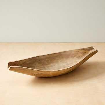 Mcm Wood Long Bowl, White Wash + Mango Wood - West Elm