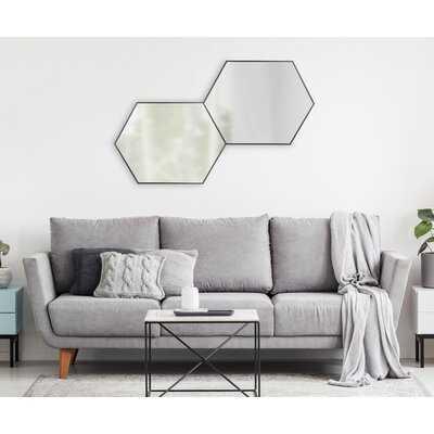 Logsdon Mid Century Hexagon Beveled Accent Mirror - Black - Wayfair