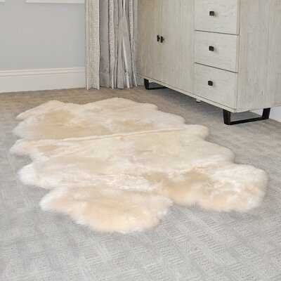 Sunray Classic Long Wool Handmade Sheepskin Champagne Area Rug - Wayfair