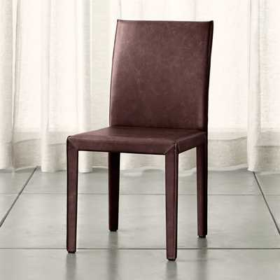 Folio Merlot Top-Grain Leather Dining Chair - Crate and Barrel