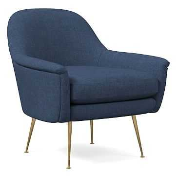 Phoebe Mid-Century Chair, Performance Yarn Dyed Linen Weave, French Blue, Pecan legs (Pecan legs not shown) - West Elm