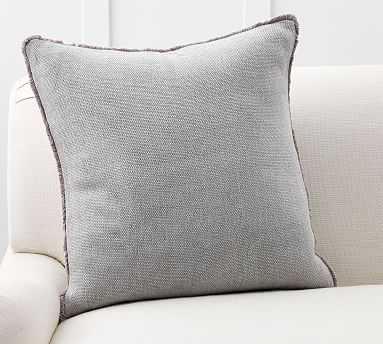 "Willa Fringe Textured Pillow Cover, 22"", Gray - Pottery Barn"