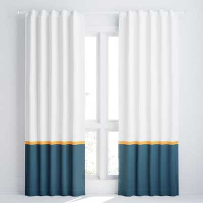 """White and Navy Color Block Blackout 84"""" Curtain Panel - Crate and Barrel"""