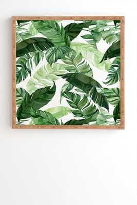 "Green Leaf Watercolor Pattern by Marta Barragan Camarasa - Framed Wall Art Bamboo 30"" x 30"" - Wander Print Co."