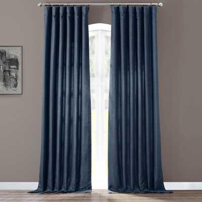 Exclusive Fabrics & Furnishings Sergeants Blue Italian Faux Linen Room Darkening Curtain - 50 in. W x 84 in. L (1 Panel) - Home Depot