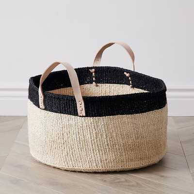 Leather Handle Short Wide Baskets - West Elm