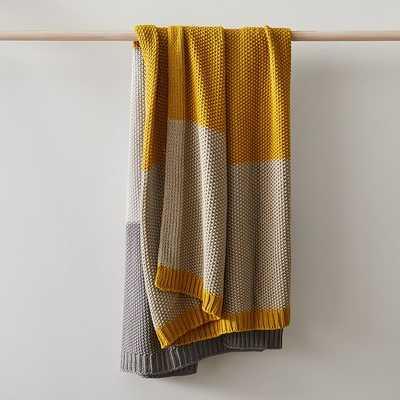 """Modern Striped Cotton Knit Throw, 50""""x60"""", Dark Horseradish - West Elm"""