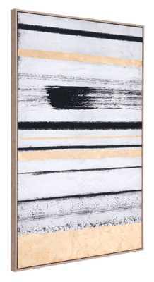 Vertical Brush Strokes Canvas Black & Gold - Zuri Studios