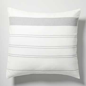 Hemp Cotton Serene Stripes Euro Sham, Undyed Natural + Misty Gray - West Elm