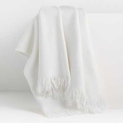 Plain Weave White Fringe 55x70 Throw - Crate and Barrel