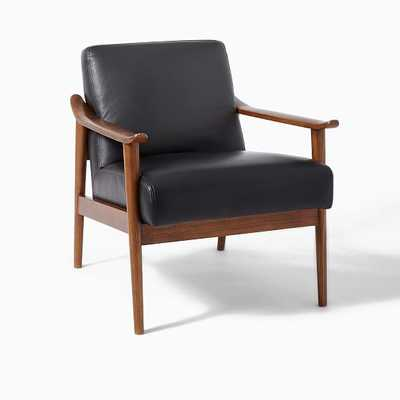 Midcentury Show Wood Leather Chair, Nero/Pecan-Individual - West Elm