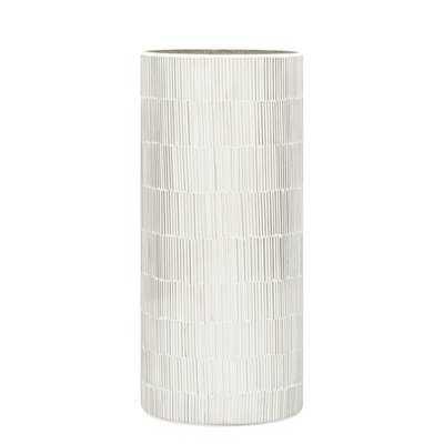 Bamboo Glass Mosaic Cylinder Vase, Silver, 9-inch - Wayfair