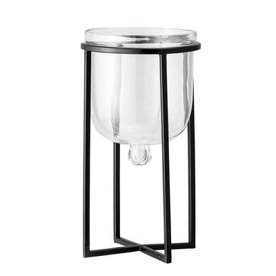 "7.25""H Glass Planter/Candleholder on 11.75""H Black Metal Stand (Set of 2 Pieces) - Moss & Wilder"