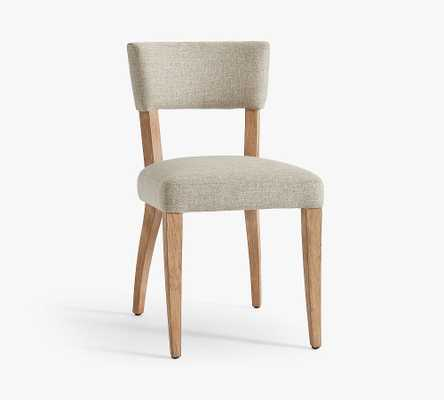 Payson Upholstered Dining Side Chair, Seadrift Legs Chenille Basketweave Pebble - Pottery Barn
