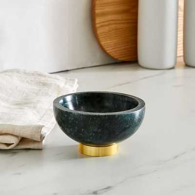 Marble Kitchen Serveware, Dip Bowl, Green, Marble Brass, Individual - West Elm