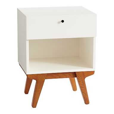 west elm x pbt Modern Nightstand, White/Pecan, In-Home - Pottery Barn Teen