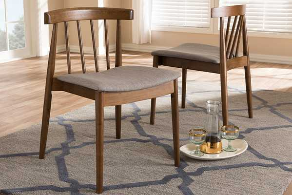 Baxton Studio Wyatt Mid-Century Modern Walnut Wood Dining Chair (Set of 2) - Lark Interiors