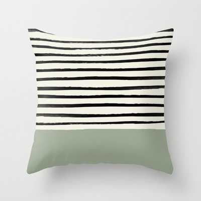 """Sage Green X Stripes Couch Throw Pillow by Leah Flores - Cover (20"""" x 20"""") with pillow insert - Indoor Pillow - Society6"""