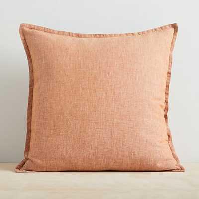 """Melange European Flax Linen Pillow Cover, Terracotta, 20""""x20"""" - West Elm"""