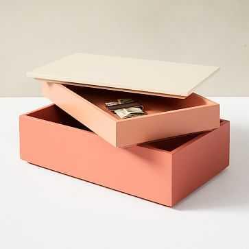 Ombre Lacquer Boxes, Large Rectangle, Orange - West Elm