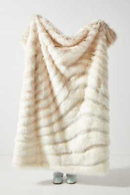 Janelle Faux Fur Throw Blanket By Anthropologie in White - Anthropologie