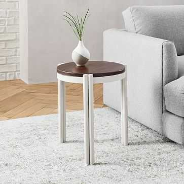 Bo Stacking Metal And Wood Round Side Table, Wood, Haze, Metal - West Elm