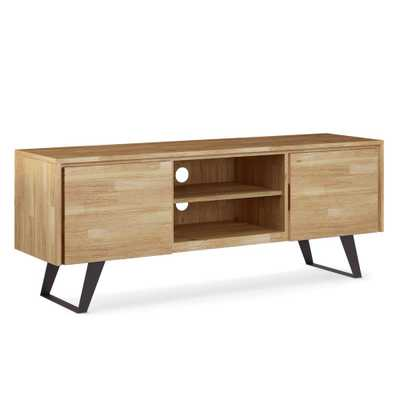 Brooklyn + Max Fulton in Distressed Golden Wheat Solid Acacia Wood 63 in. Wide Modern Industrial TV Media Stand For TVs up to 70 in. - Home Depot